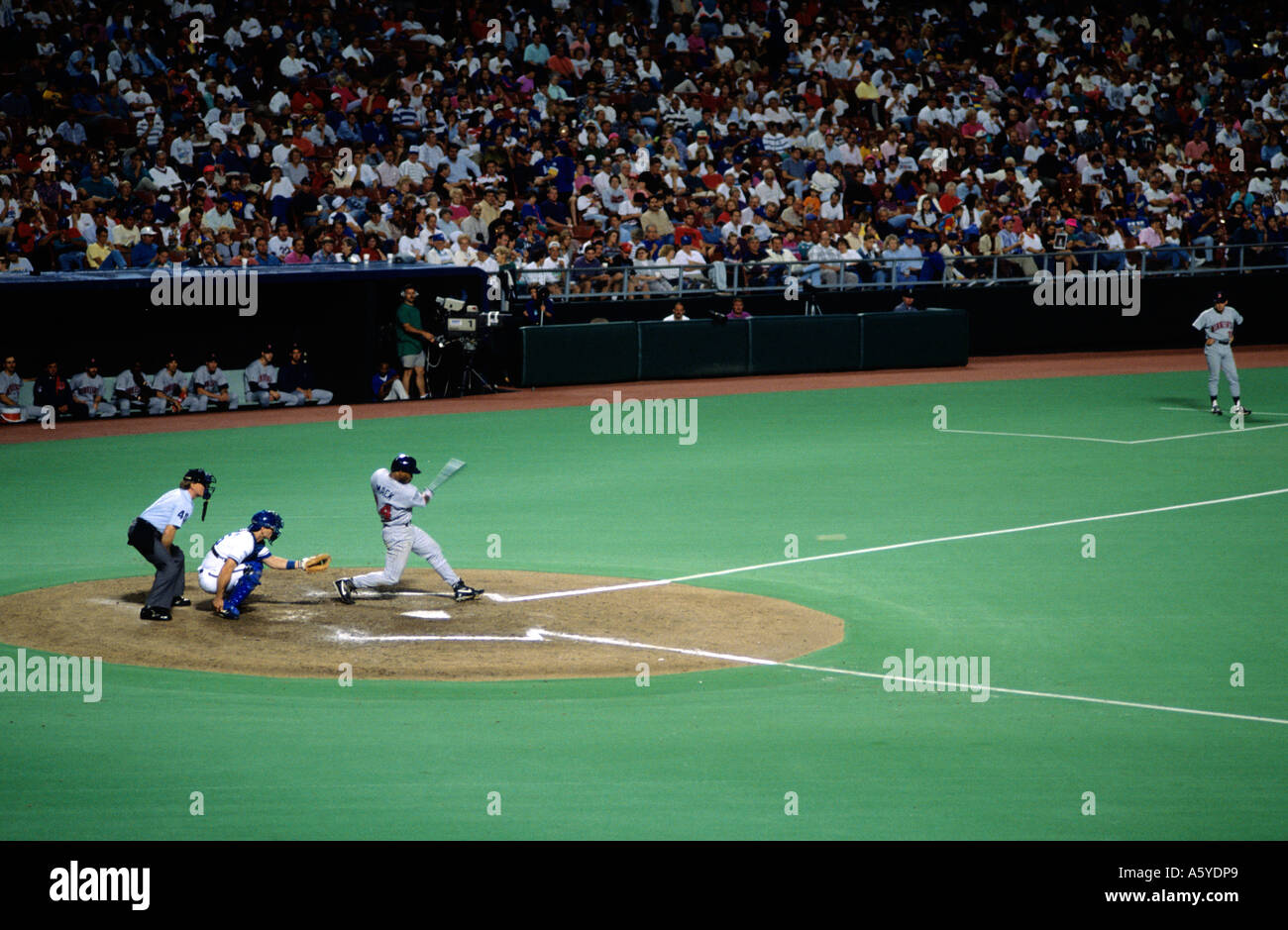A professional baseball player up to bat at the Kansas City Royals baseball stadium. - Stock Image