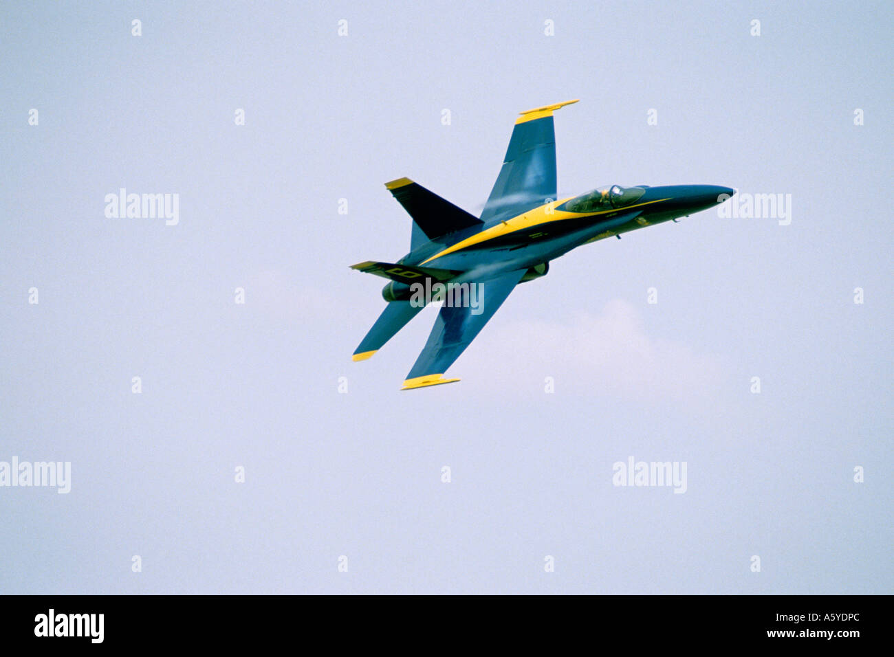 A Blue Angel f-18 supersonic jet. - Stock Image