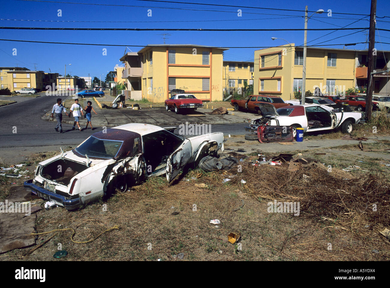 Public housing projects in Mayaguez, Puerto Rico. - Stock Image
