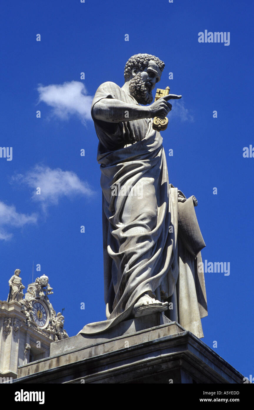 The statue of Saint Peter in the Vatican with the key to the Kingdom of Heaven Stock Photo