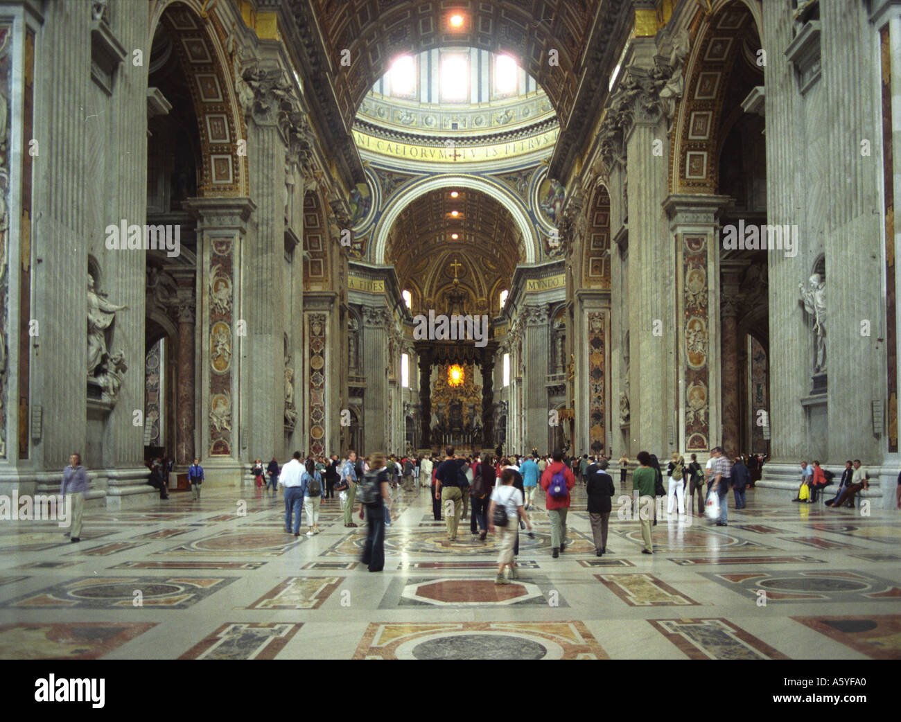 Inside the magnificent Saint Peter s Basilica in the Vatican City in Rome - Stock Image