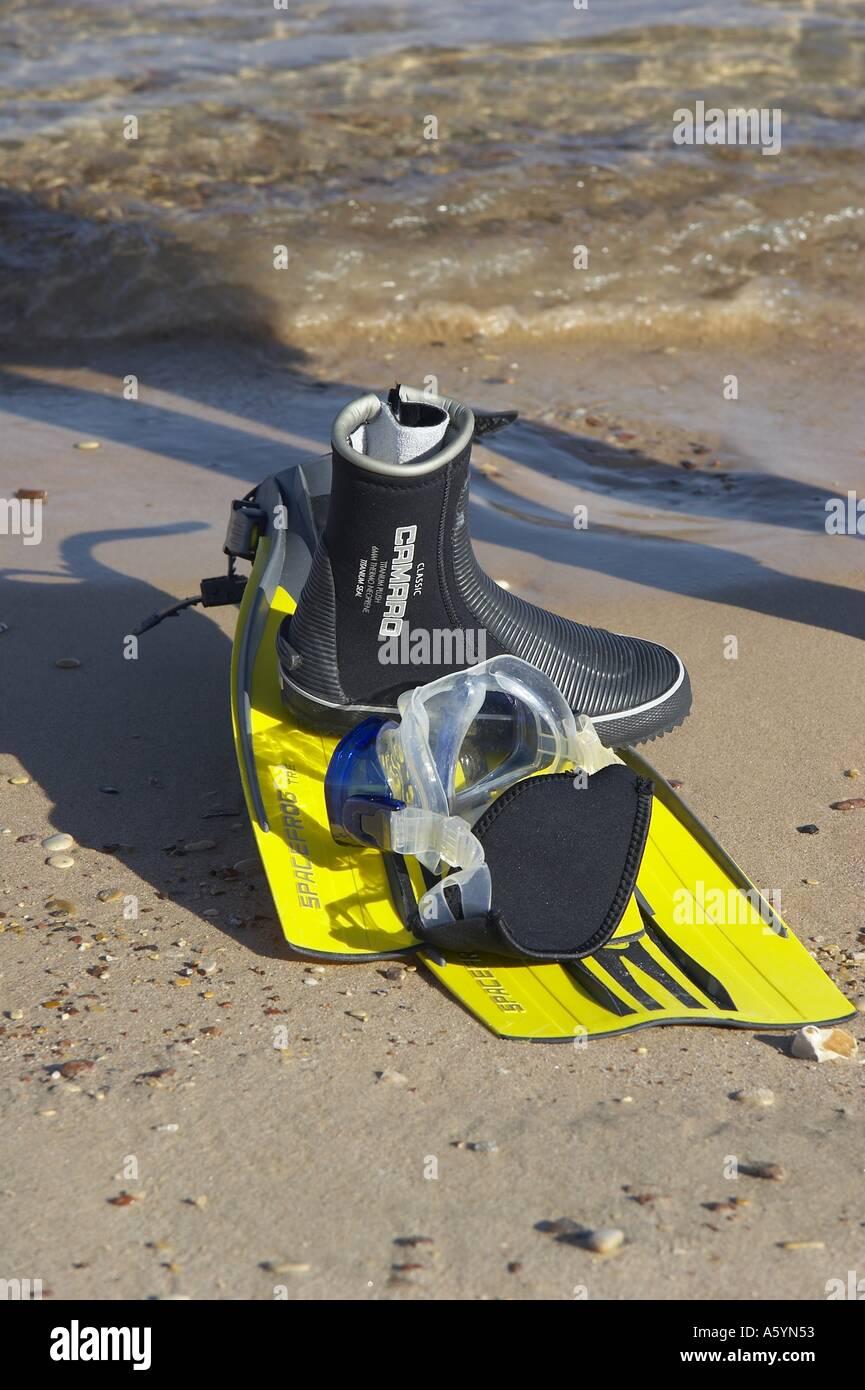 fins on beach - Stock Image