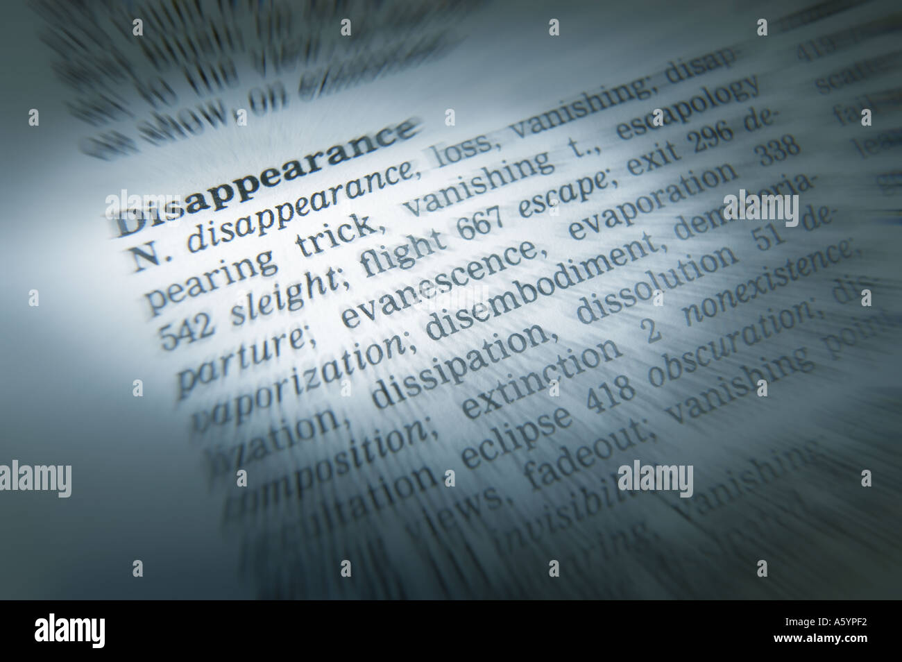 THESAURUS PAGE SHOWING DEFINITION OF WORD DISAPPEARANCE - Stock Image