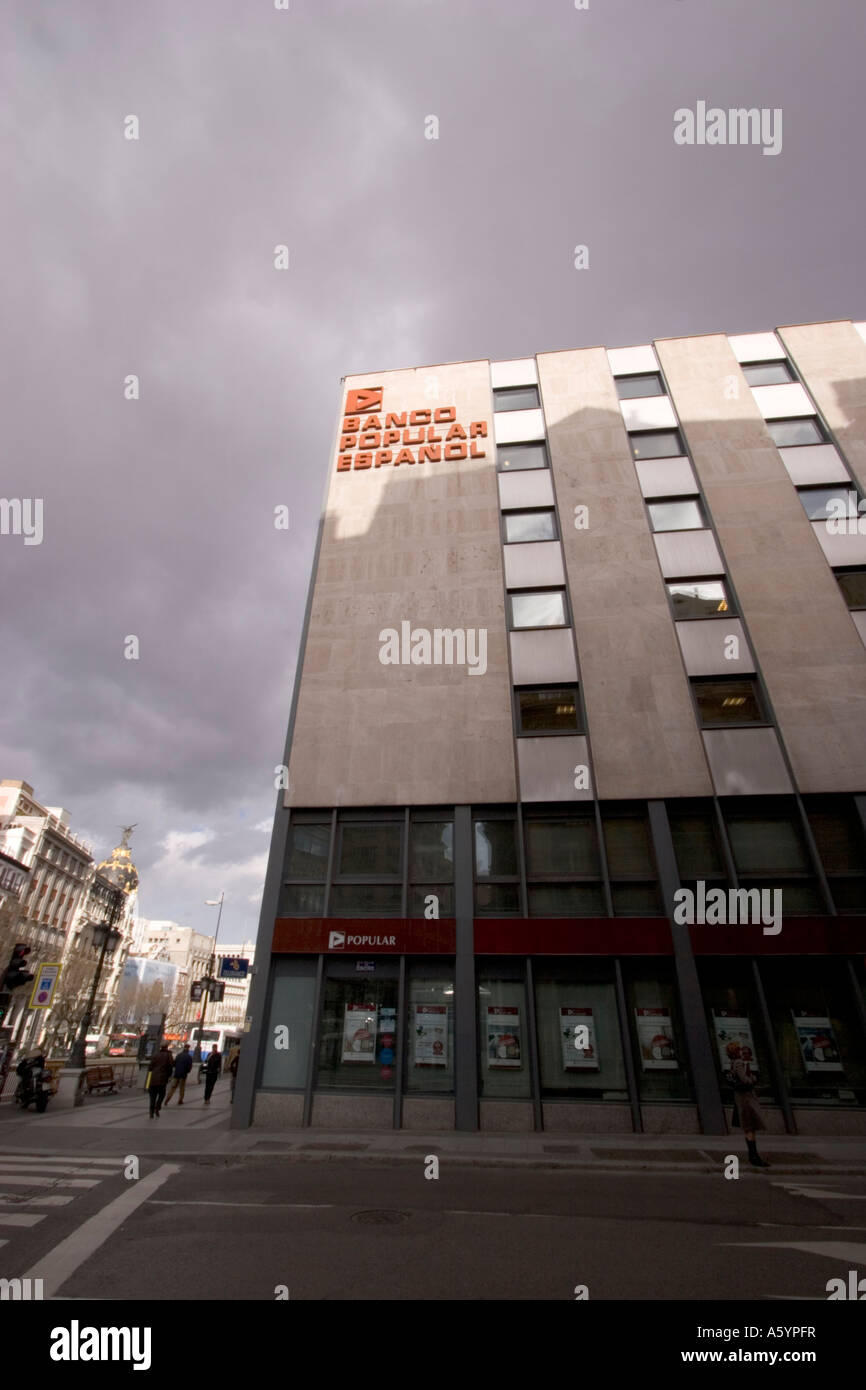 Banco Popular Español branch part of Banco Popular Group Madrid - Stock Image