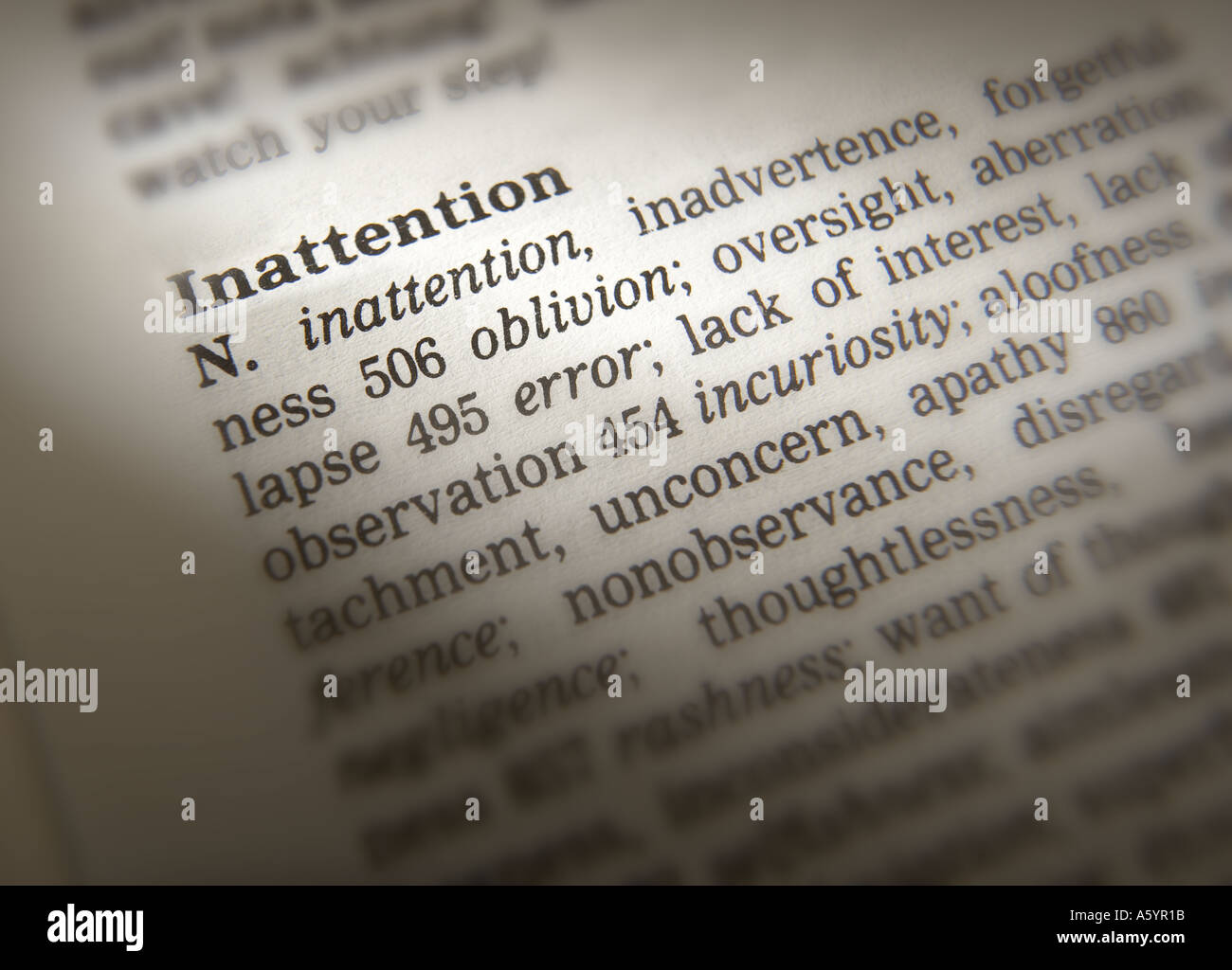 THESAURUS PAGE SHOWING DEFINITION OF WORD INATTENTION - Stock Image