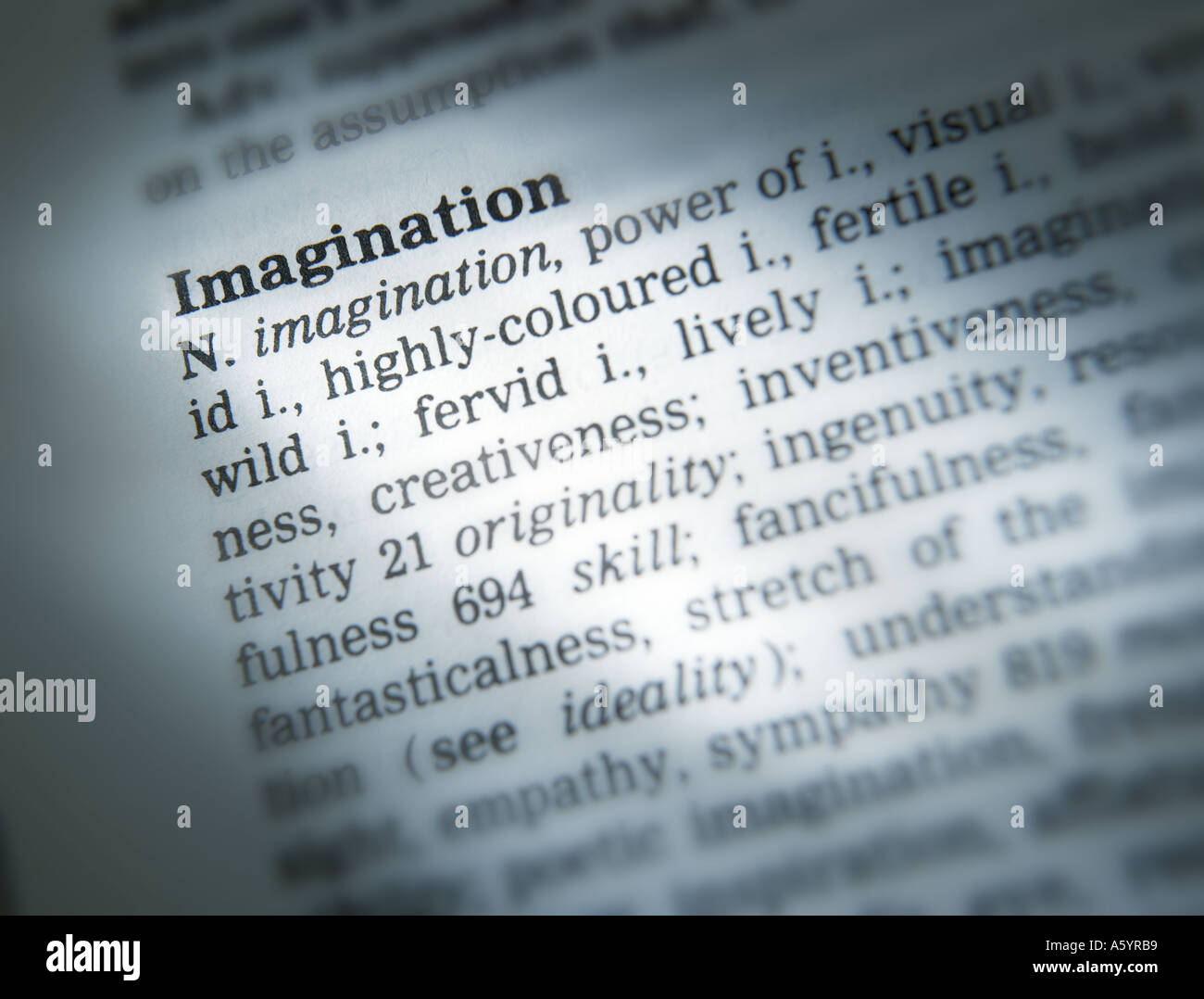 THESAURUS PAGE SHOWING DEFINITION OF WORD IMAGINATION