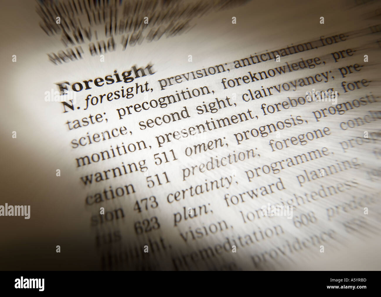 THESAURUS PAGE SHOWING DEFINITION OF WORD FORESIGHT