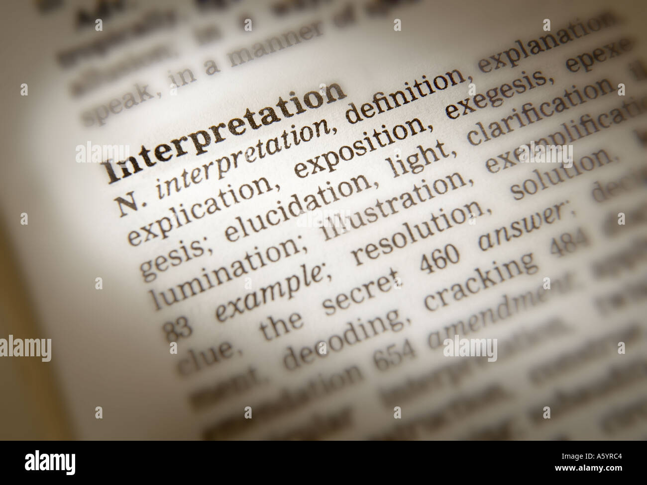 THESAURUS PAGE SHOWING DEFINTION OF WORD INTERPRETATION