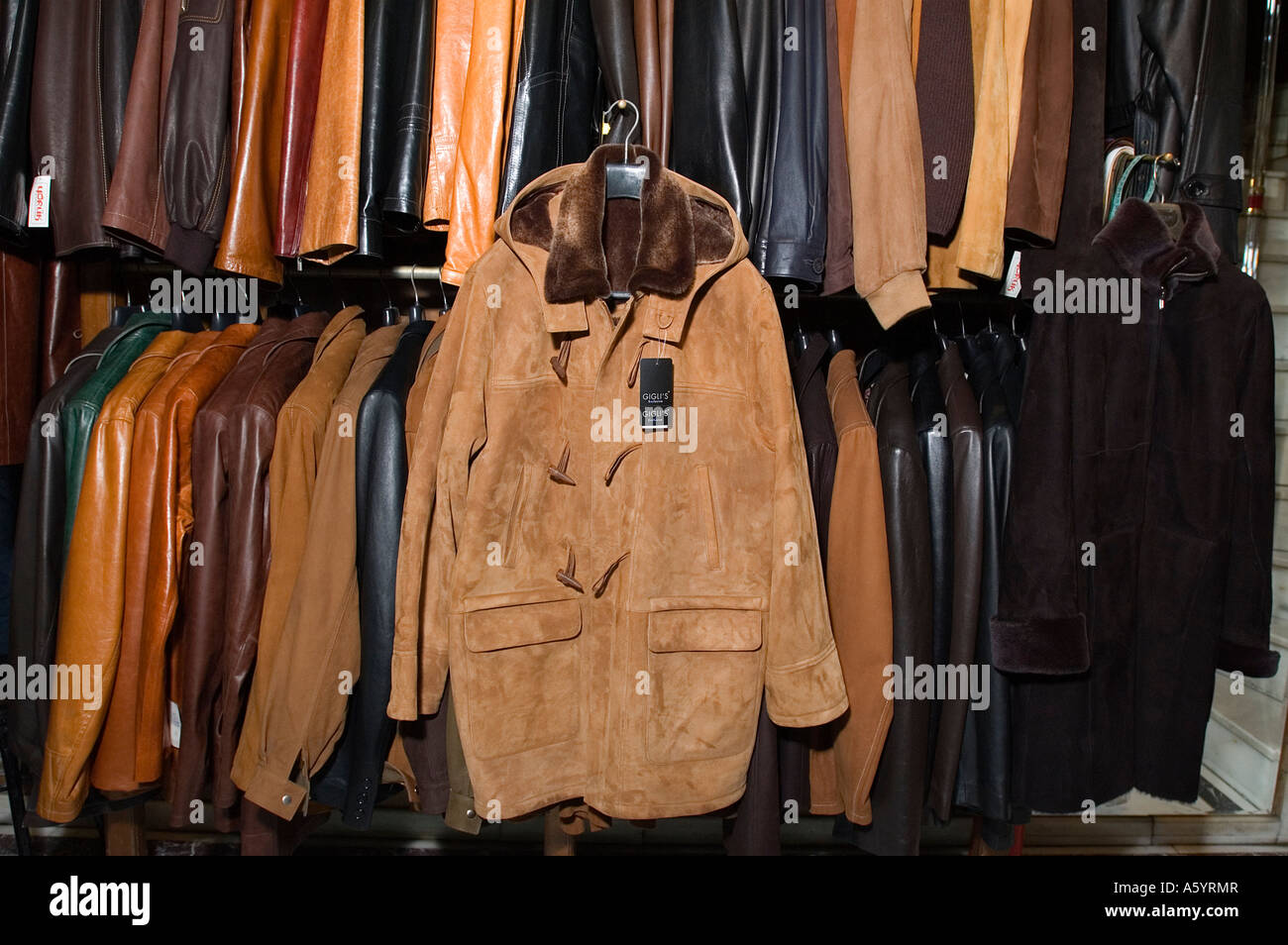 Leather textile products in a shop Grandbazaar Istanbul - Stock Image
