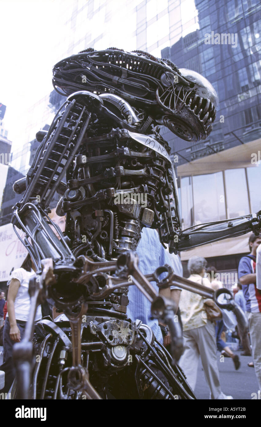 Metal sculpture of an alien - Stock Image
