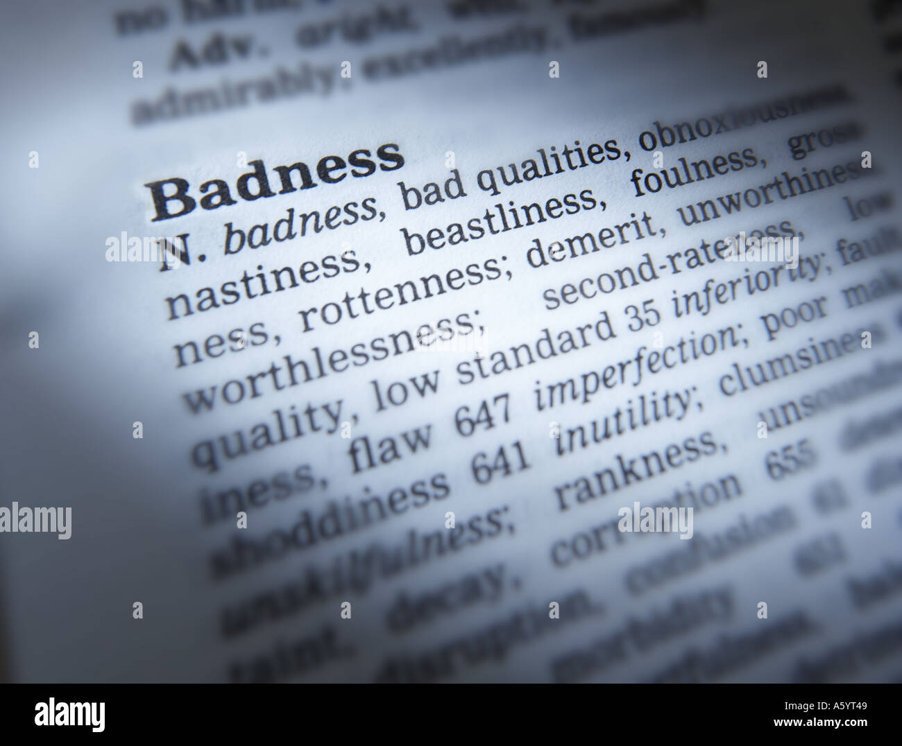 THESAURUS PAGE SHOWING DEFINITION OF WORD BADNESS