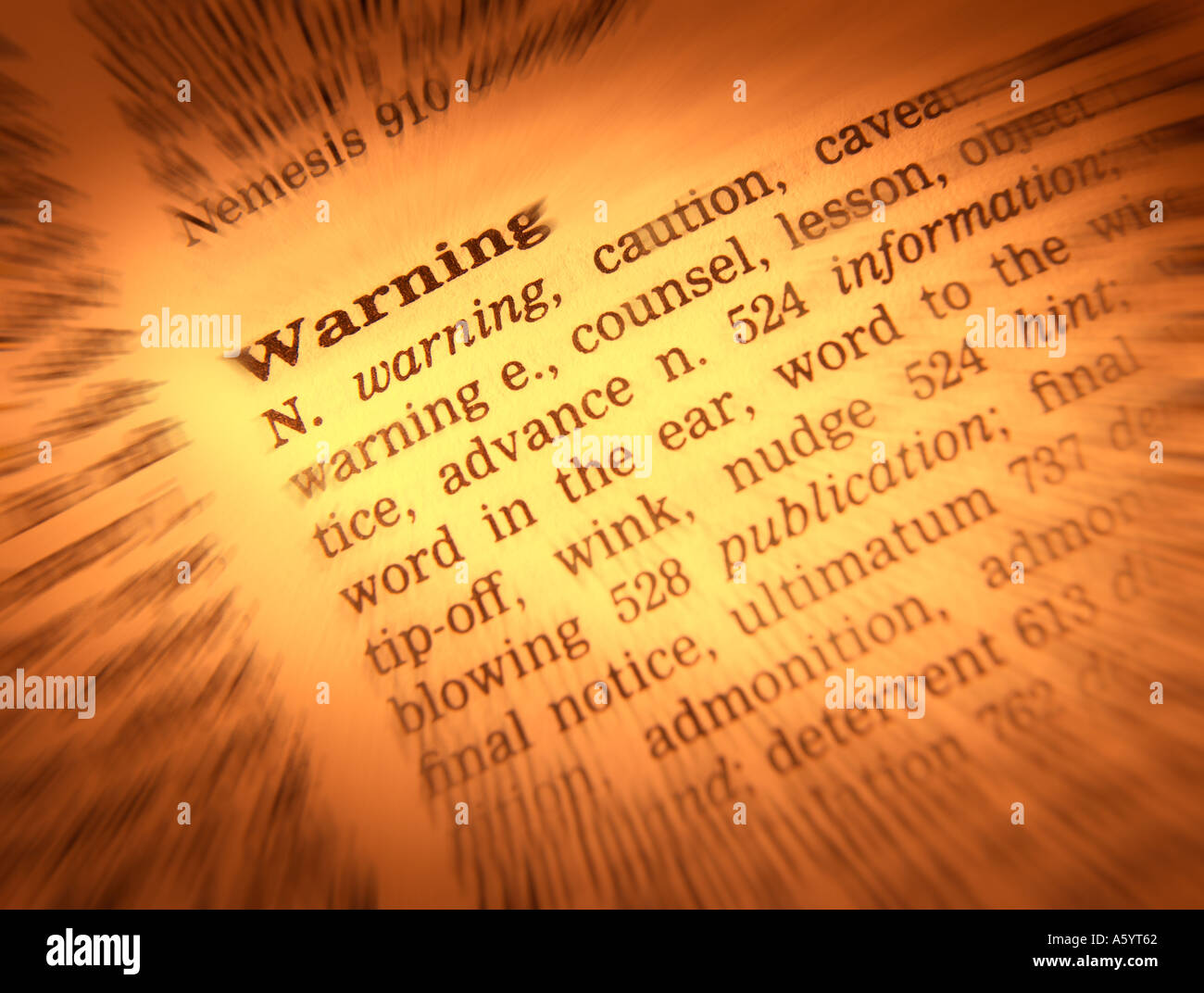 THESAURUS PAGE SHOWING DEFINITION OF WORD WARNING