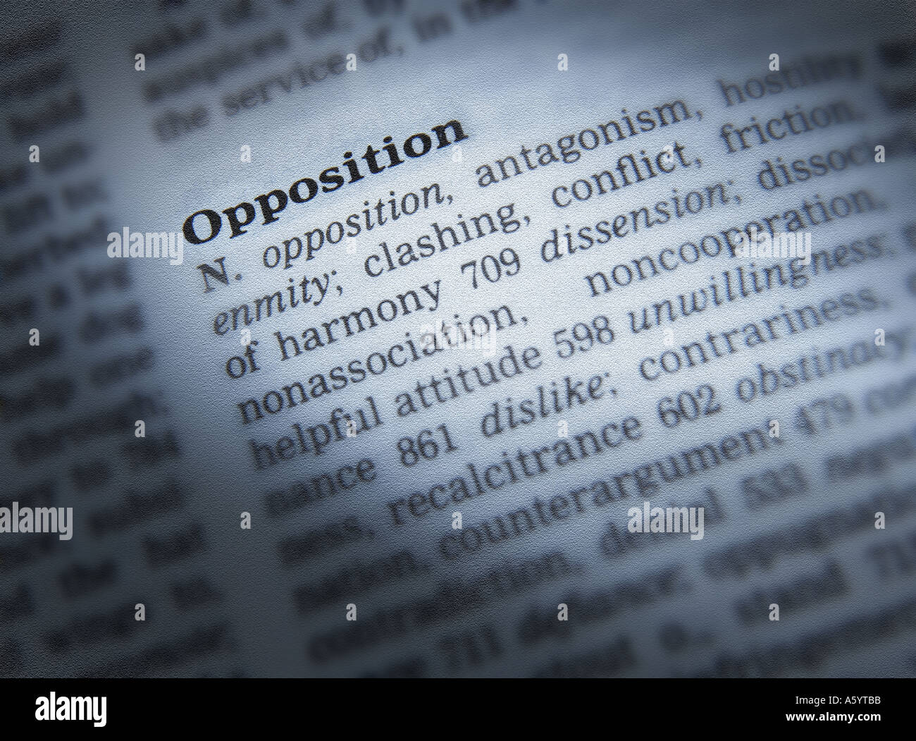 THESAURUS PAGE SHOWING DEFINITION OF WORD OPPOSITION - Stock Image