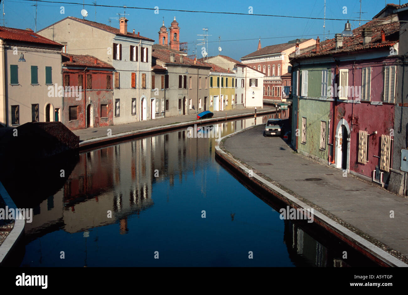 Painet in3101 canal via san pietro comacchio emiliaromagna italy area buildings burghal center central city civic - Stock Image