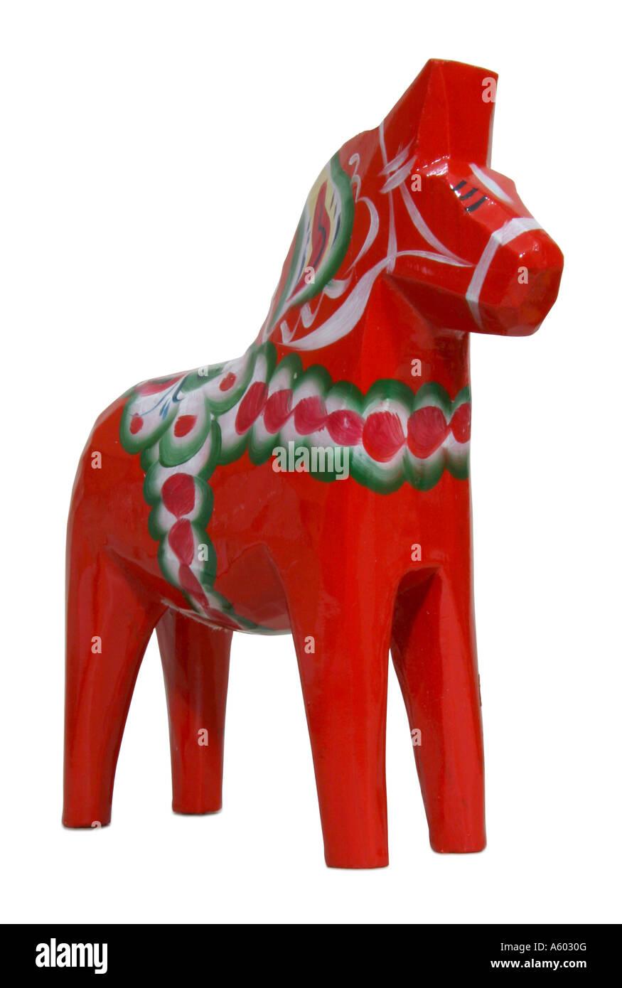 Orange Dala horse - Stock Image