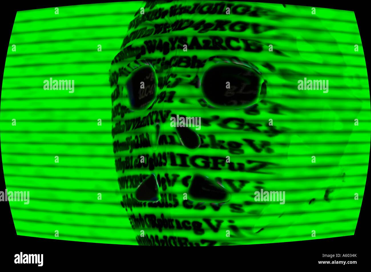serial killer wearing ski mask shown on closed circuit security camera - Stock Image