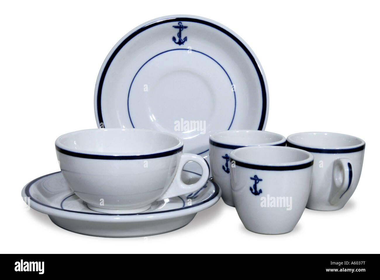 Circa 1940u0027s US Navy china lot with fouled anchor design. This image has a clipping path.  sc 1 st  Alamy & Circa 1940u0027s US Navy china lot with fouled anchor design. This image ...
