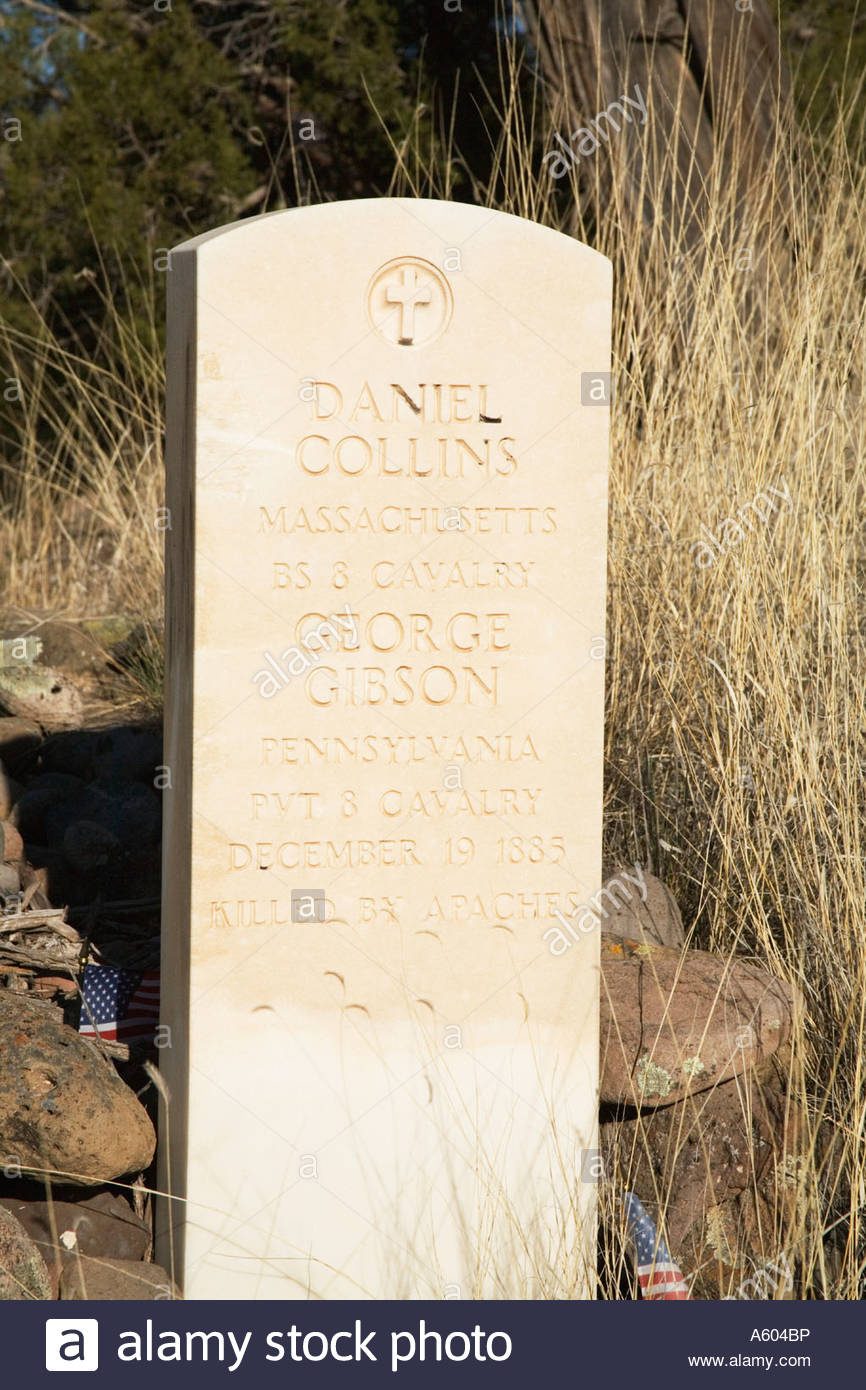 Headstone in W S Cemetery on hillside north of Alma New Mexico - Stock Image
