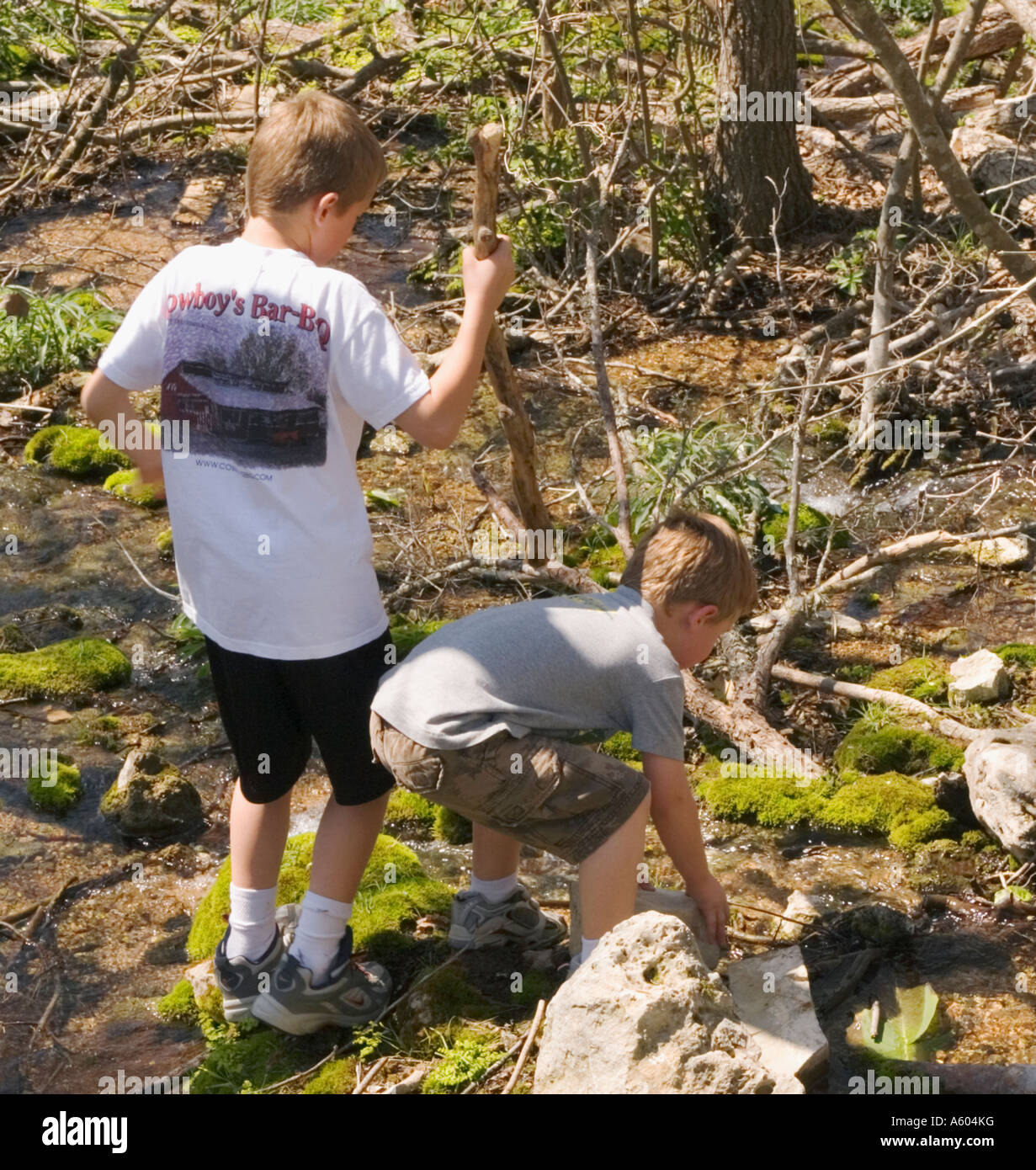Two young brothers having fun exploring a spring fed swamp while hiking in Texas - Stock Image
