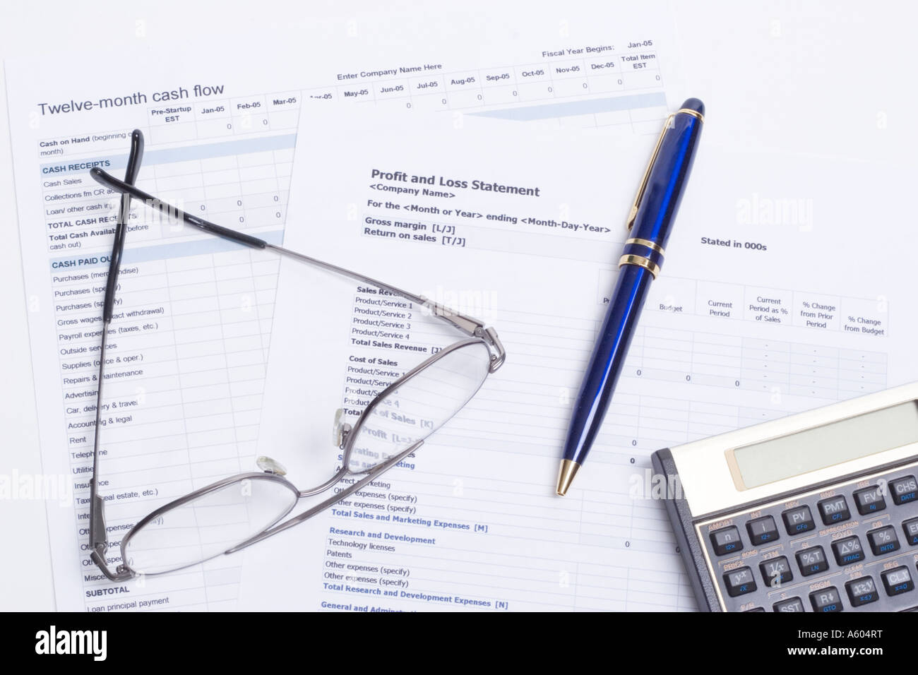 Cash Flow And Profit Loss Spreadsheets With Calculator Glasses Ink Pen