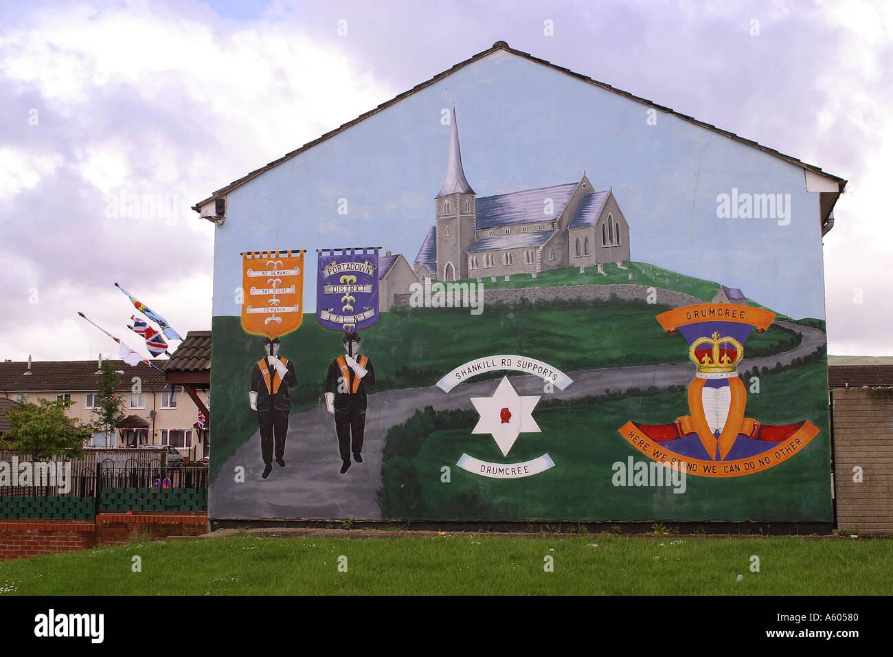 Drumcree Loyalist mural in lower Shankill estate Stock Photo