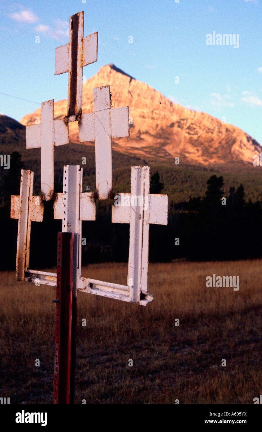 Painet hq2212 19 white crosses site drunk driving fatality mary mt st. saint religion religious adoration ceremonial - Stock Image