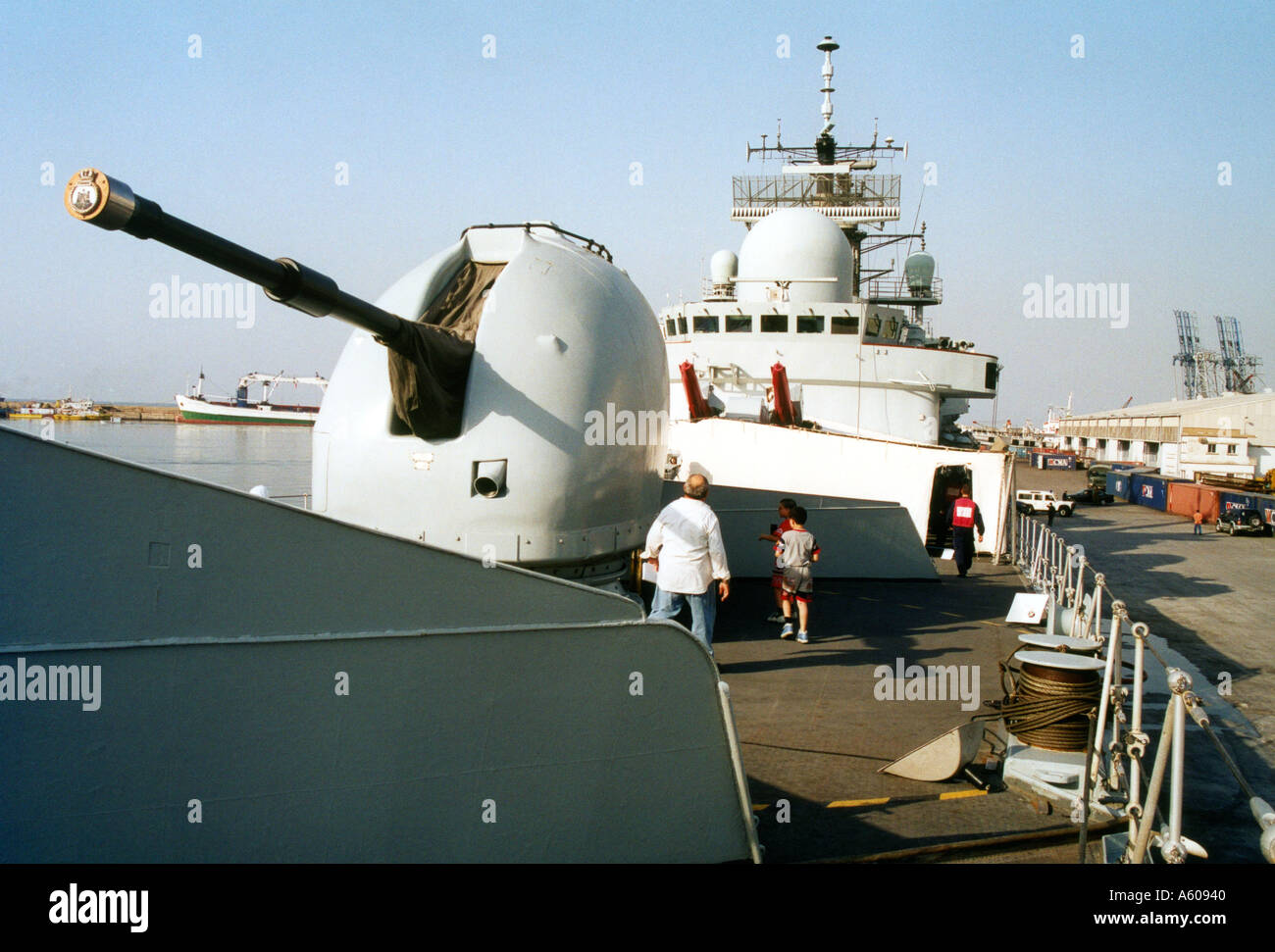 114mm gun hms edinburgh royal navy warship visit to beirut harbour lebanon stock image
