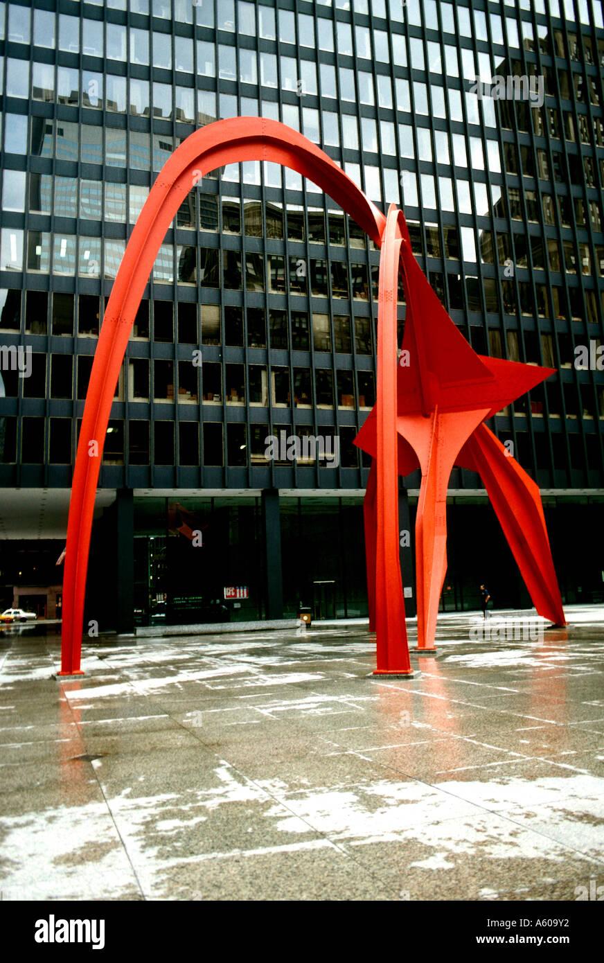 Illinois Chicago Sculpture Calder Flamingo - Stock Image
