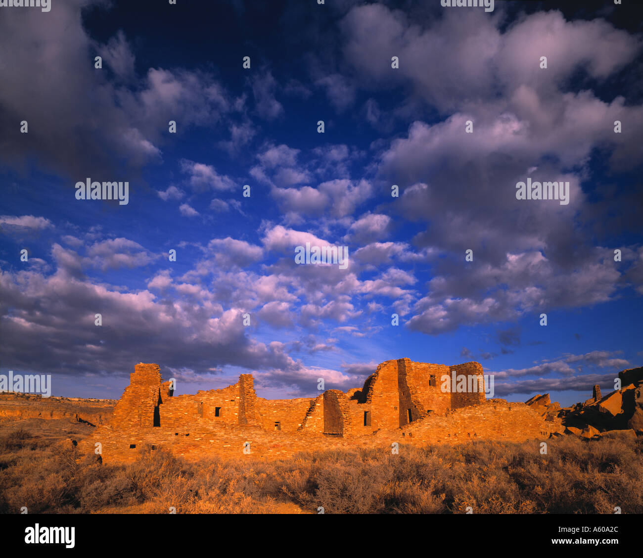 Morning Clouds Pueblo Bonito Chaco Culture National Historic Park New Mexico - Stock Image