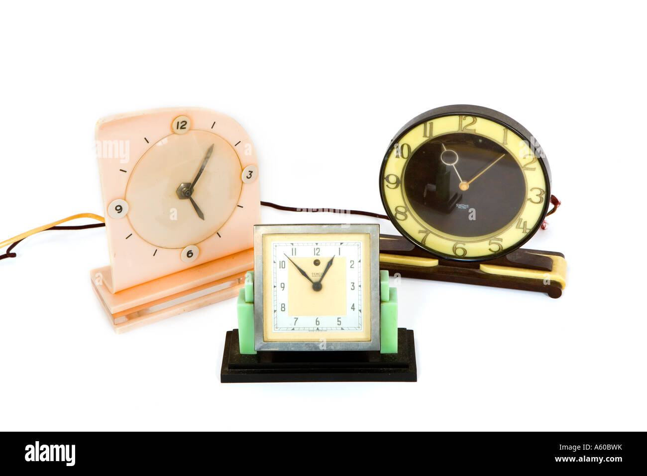 art deco style electric plastic bakelite clocks - Stock Image