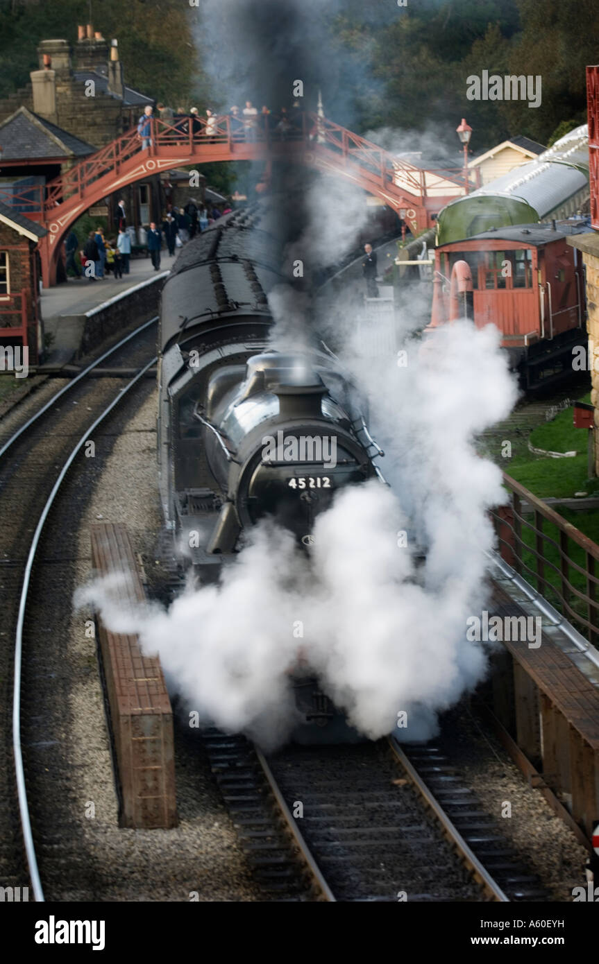 Steam Loco at Goathland the Location of the Harry Potter Fims - Stock Image