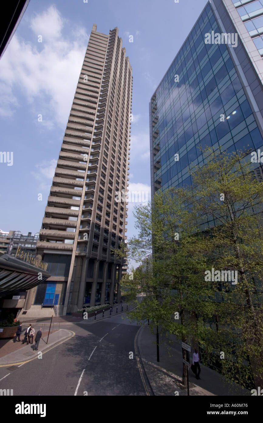 tower block barbican centre center central London with Barbican centre entrance - Stock Image
