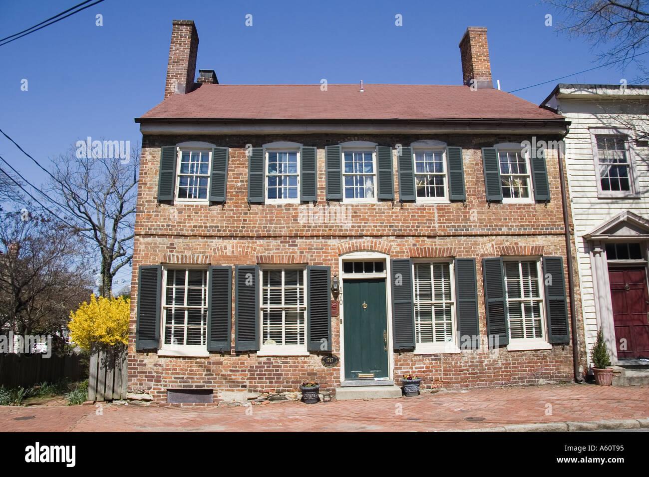 Historic home circa 1747 Annapolis Maryland - Stock Image