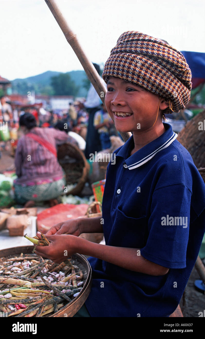 Young trader at Kalaw market near Lake Inle Burma - Stock Image