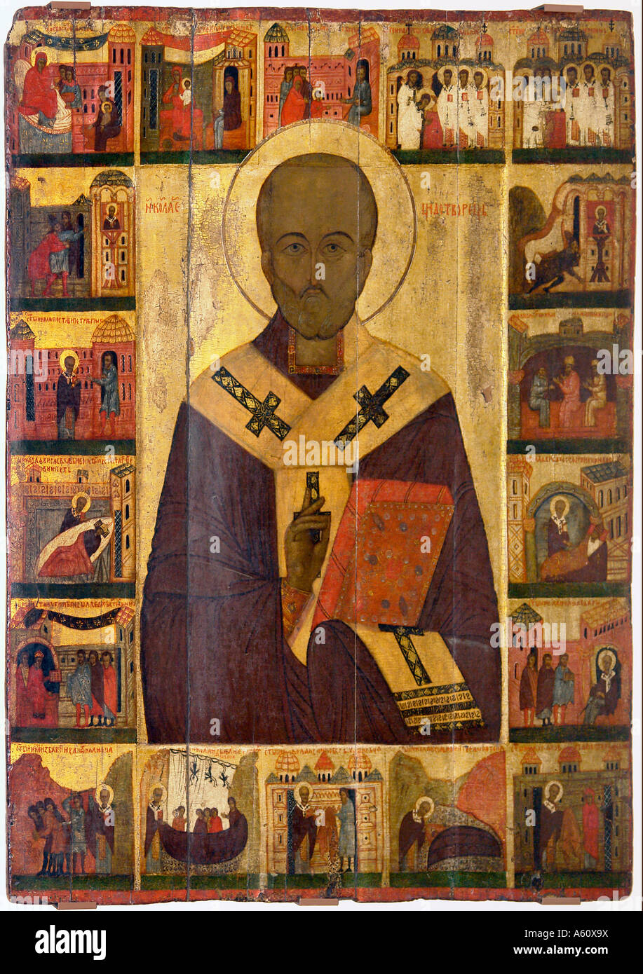 Painet jj1930 russia saint st. nicholas scenes life late c14th early c15th church ss boris gleb plotsiki icon museum - Stock Image