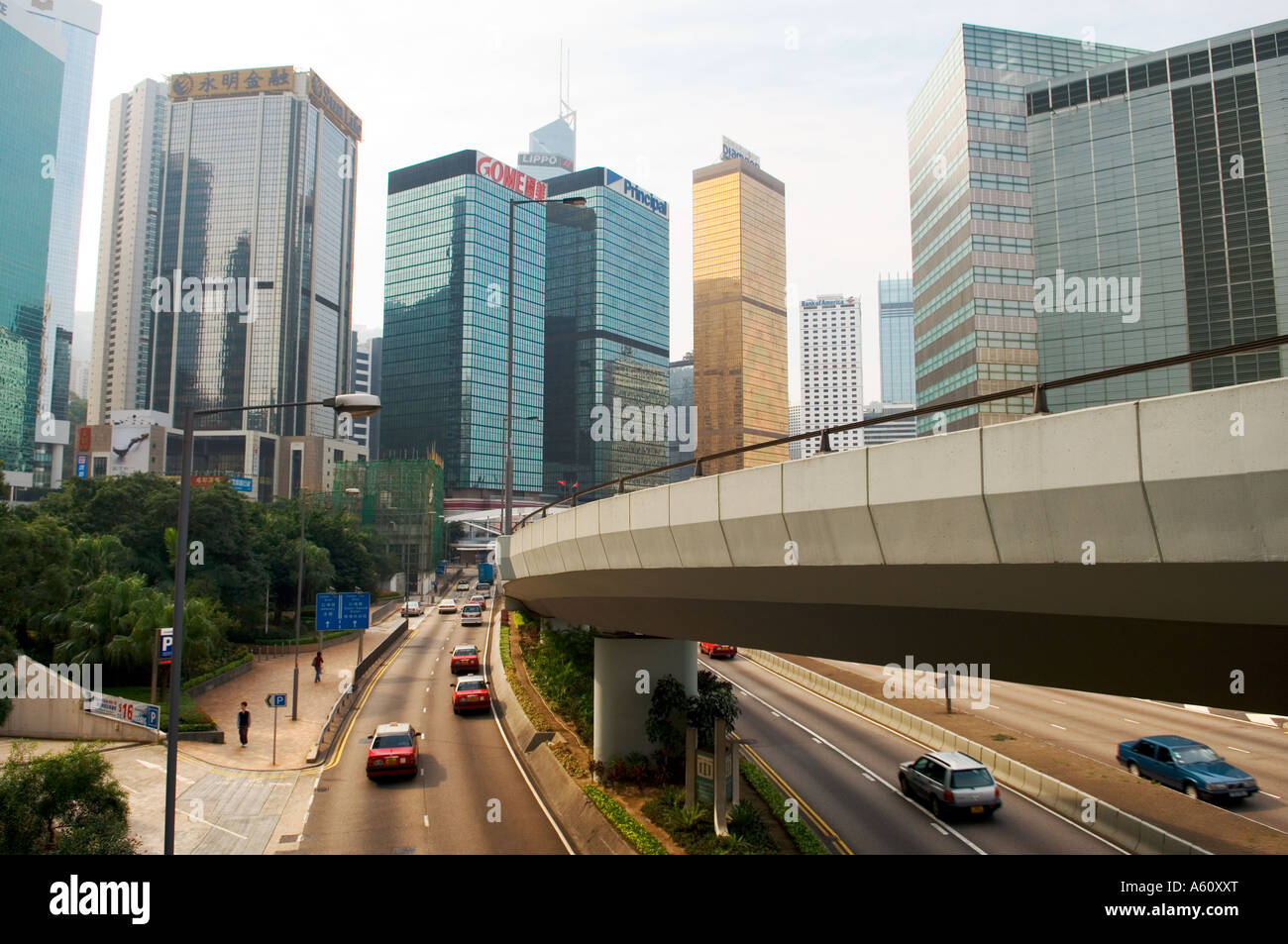 Hong Kong Island, China. Looking west along Harcourt Road in the Admiralty downtown city centre center business - Stock Image