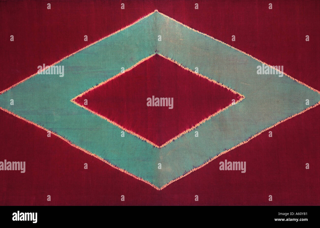 Ceremonial cloth and sacred heirloom Dodot Silk batik from Java or Sumatra Indonesia - Stock Image