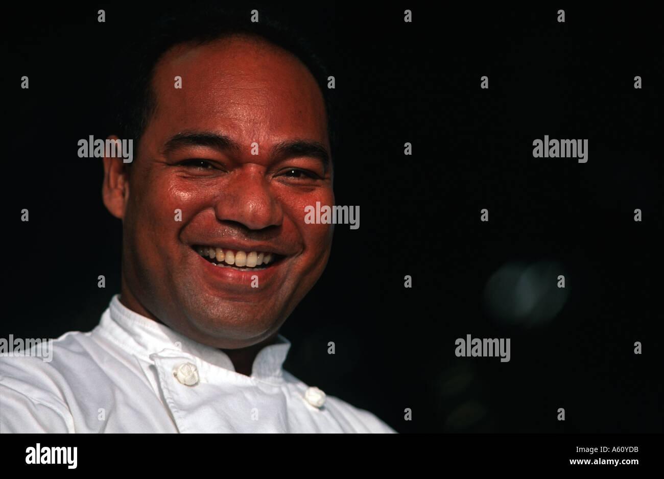 Friendly Chamorro Saipanese man Chef at a local hotel Garapan Saipan Micronesia Pacific Ocean - Stock Image