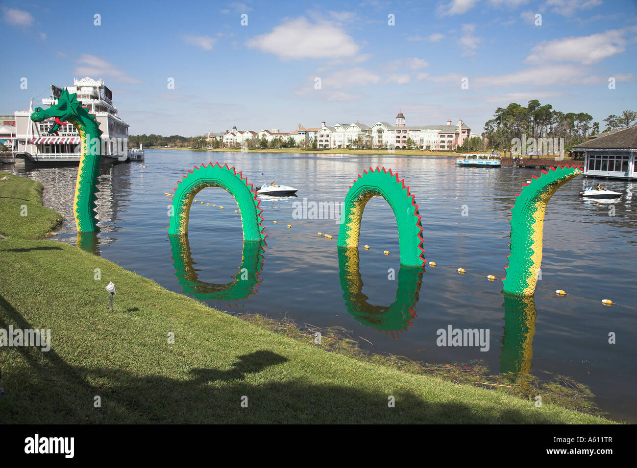 Loch Ness Monster, made of Lego components, Downtown Disney, Orlando, Florida, USA - Stock Image