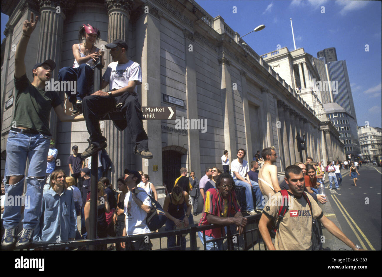 Anti Capitalist Protesters outside Bank of England London 18 June 1999 - Stock Image