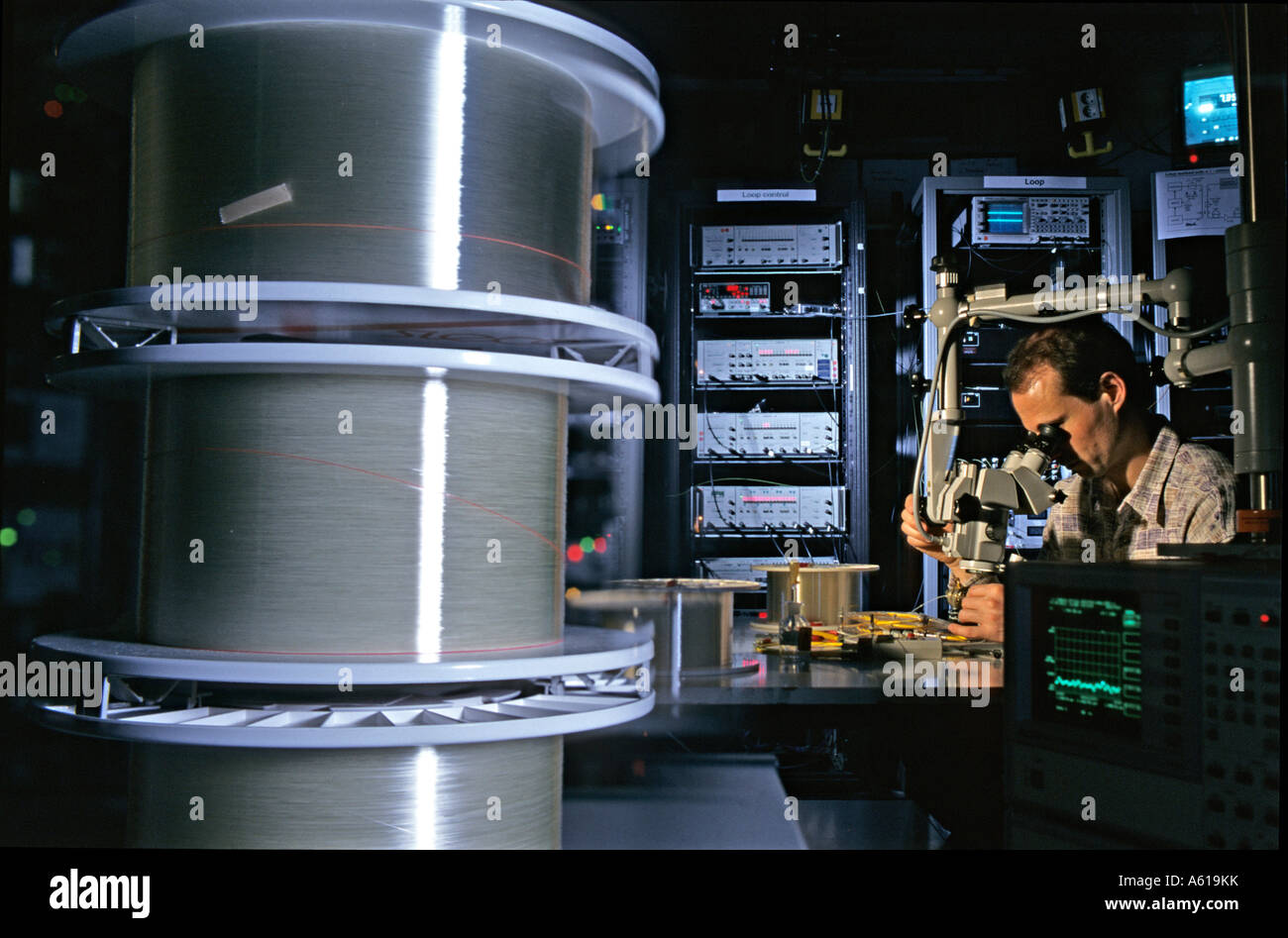 Research on optical fibre, Heinrich-Hertz-Institut, Berlin, Germany - Stock Image