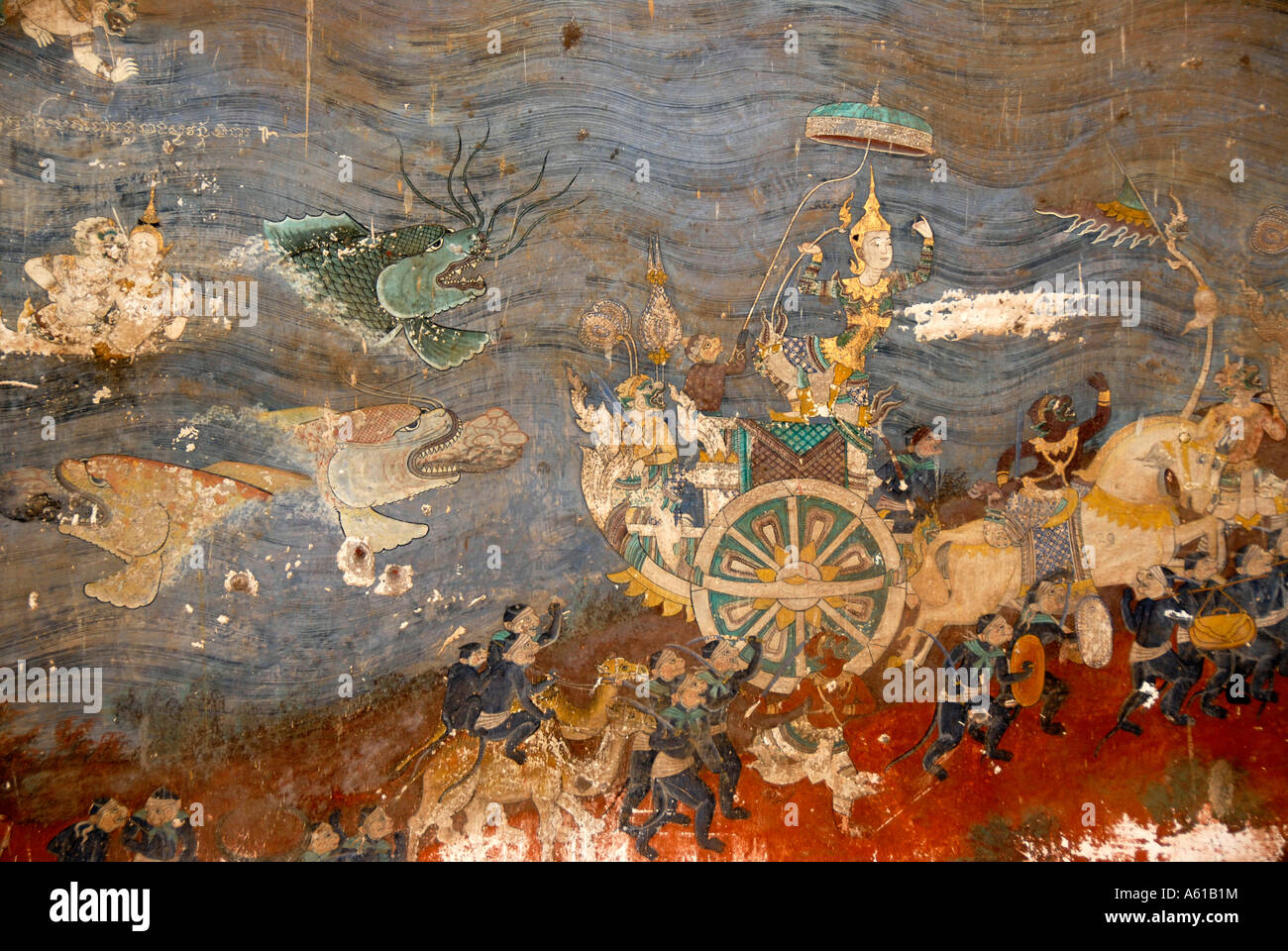 Szene of the epic Ramayana Rama leaves the sea behind in his chariot Silver Pagoda Royal Palace Phnom Penh Cambodia - Stock Image