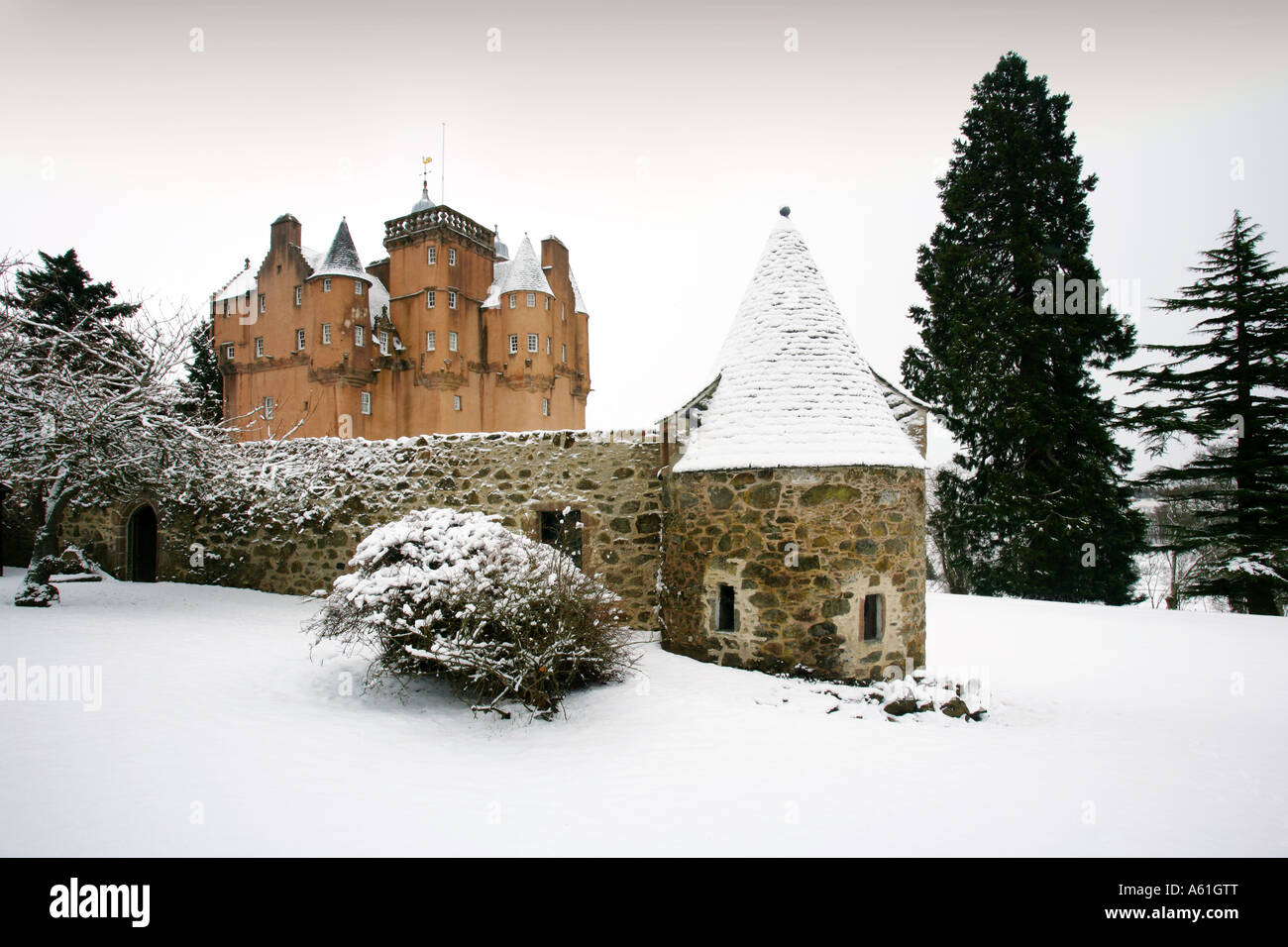 A winter scenic image of Craigievar Castle near Aberdeen in the North East of Scotland - Stock Image