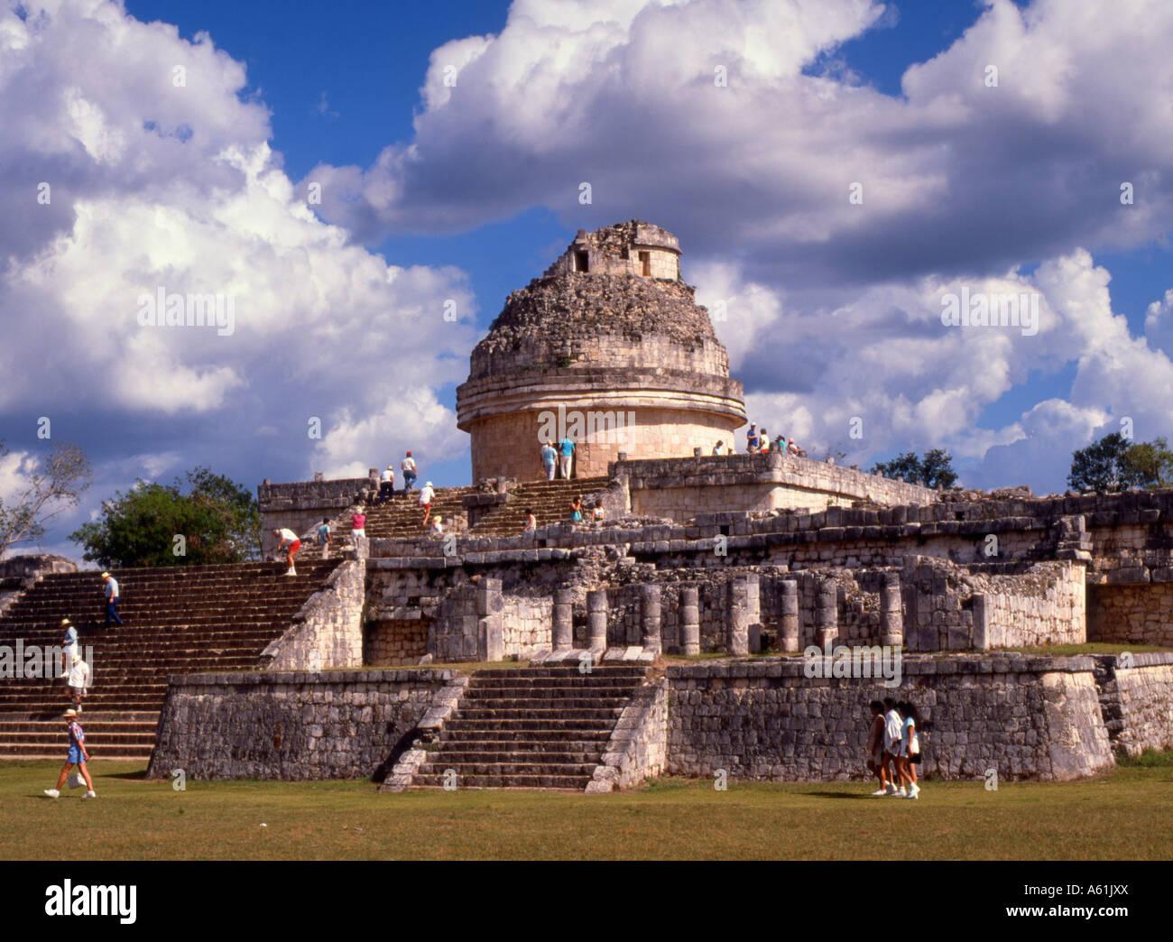 Mexico Yucatan Chichen Itza Observatory Mayan ruins - Stock Image