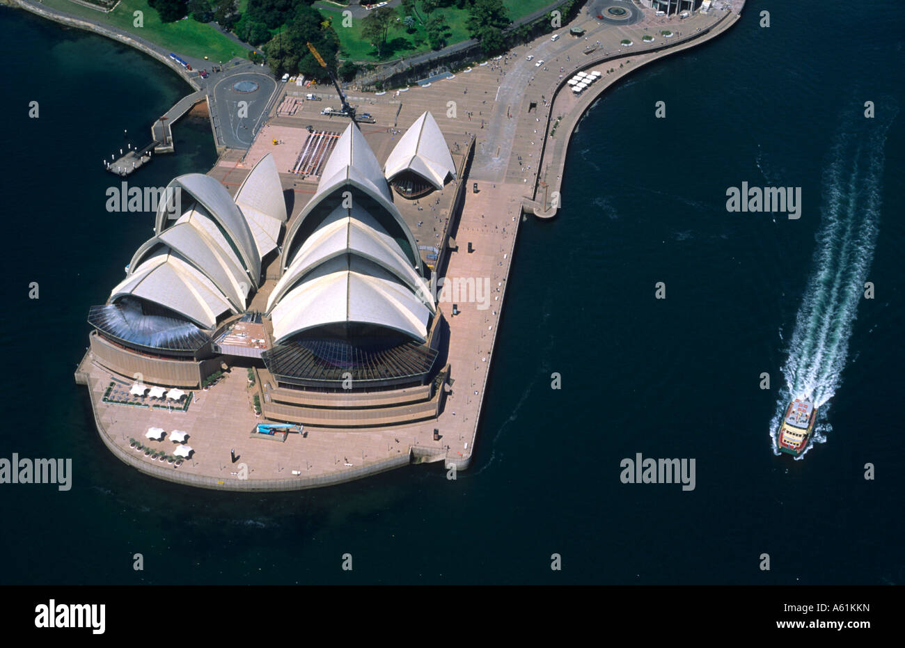 Closeup of beautiful Sydney Australia famous Opera House from airplane from above - Stock Image