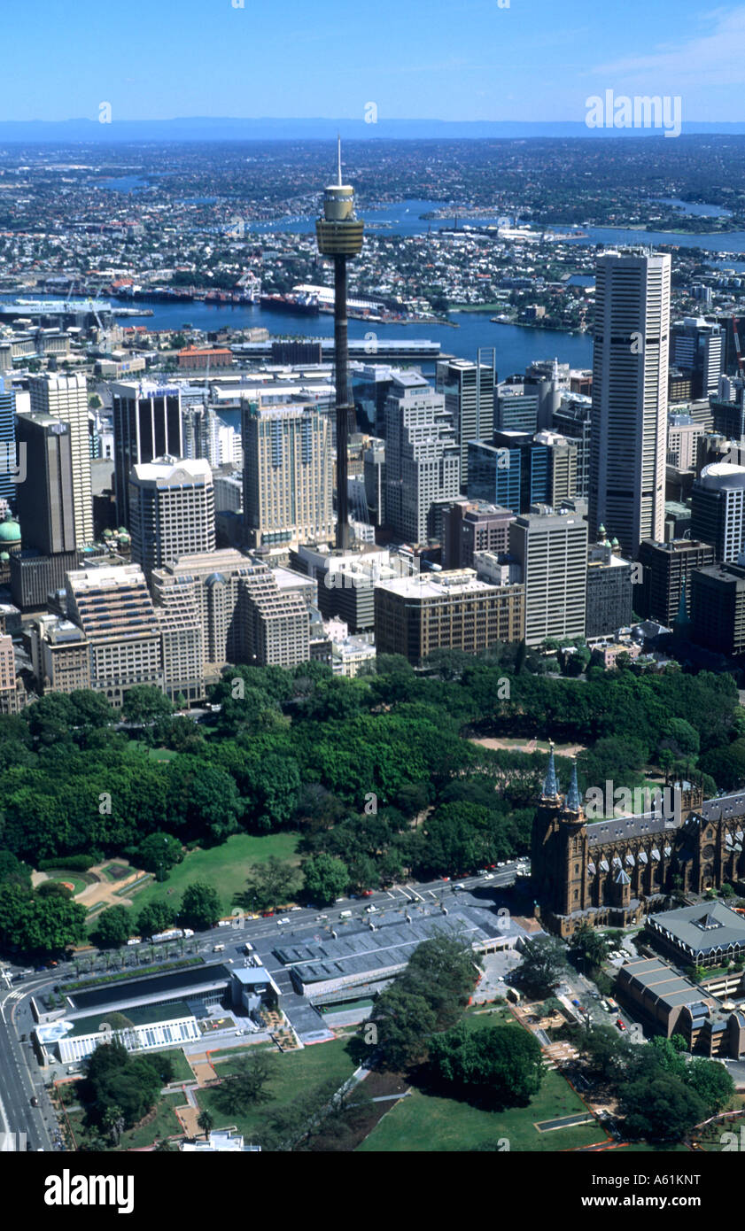 Beautiful Sydney Australia harbour with skyline and downtown from above shot from airplane - Stock Image