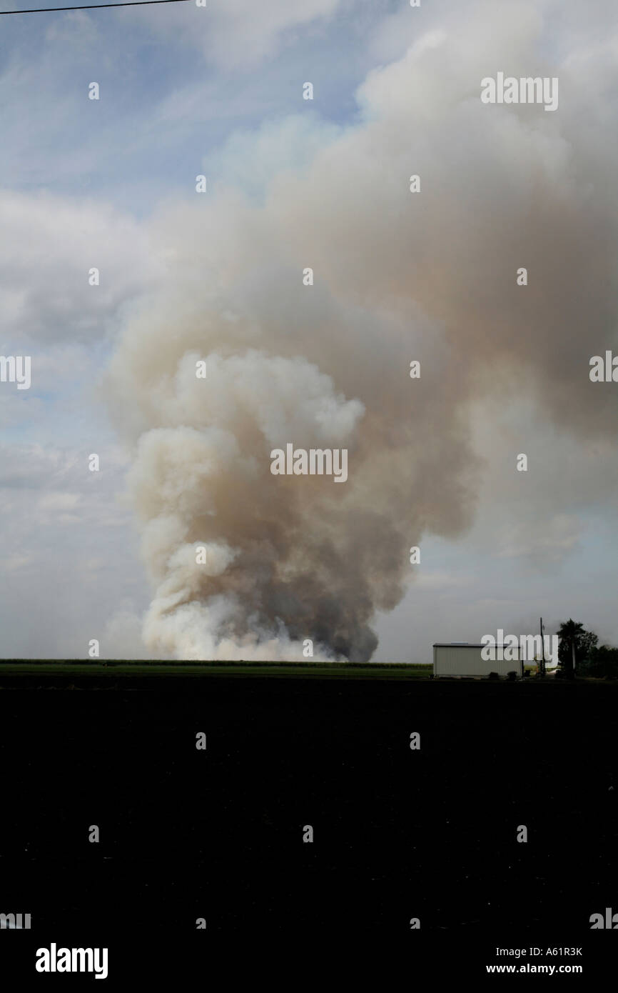 Air pollution from a garbage dump fire near Sebring Florida USA Stock Photo