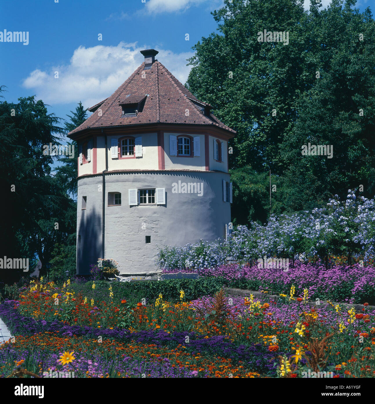 Round tower at formal garden, Insel Mainau, Baden-Wurttemberg, Germany - Stock Image