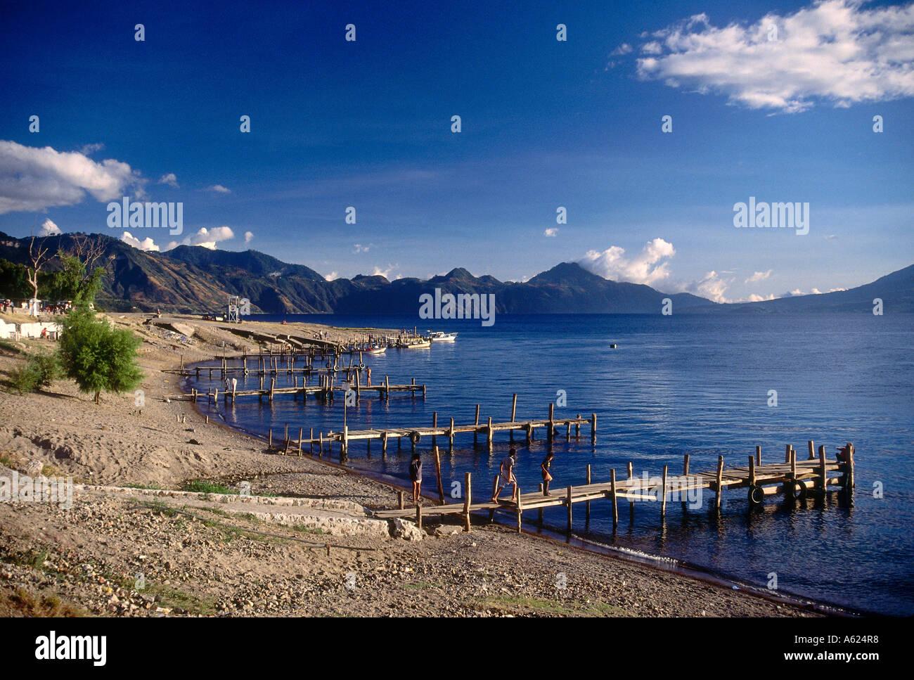 Piers at lake, Santiago Atitlan, Lake Atitlan, Solola, Guatemala - Stock Image