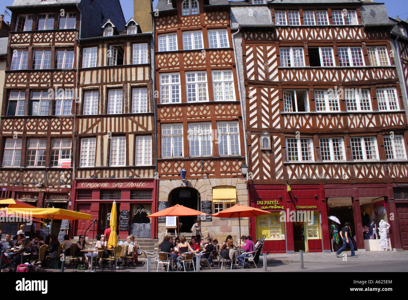 Half-timbered houses, Rennes, Brittany, France Stock Photo